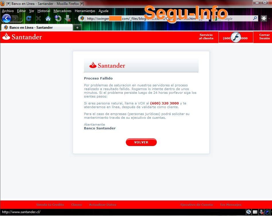 Phishing a banco santander chile seguridad inform tica for Pagina del banco exterior